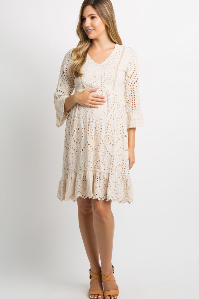 Taupe Crochet Overlay Maternity Dress