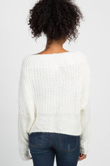 Ivory Fuzzy Knit Off Shoulder Cropped Sweater