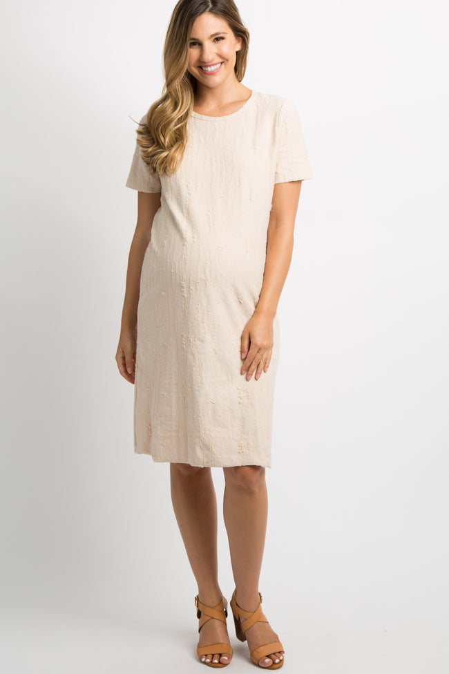 Beige Distressed Short Sleeve Maternity Dress
