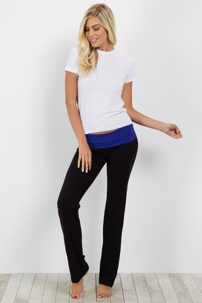 Blue Waistband Maternity Yoga Pants