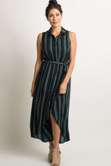 Navy Button Front Striped Hi-Low Dress
