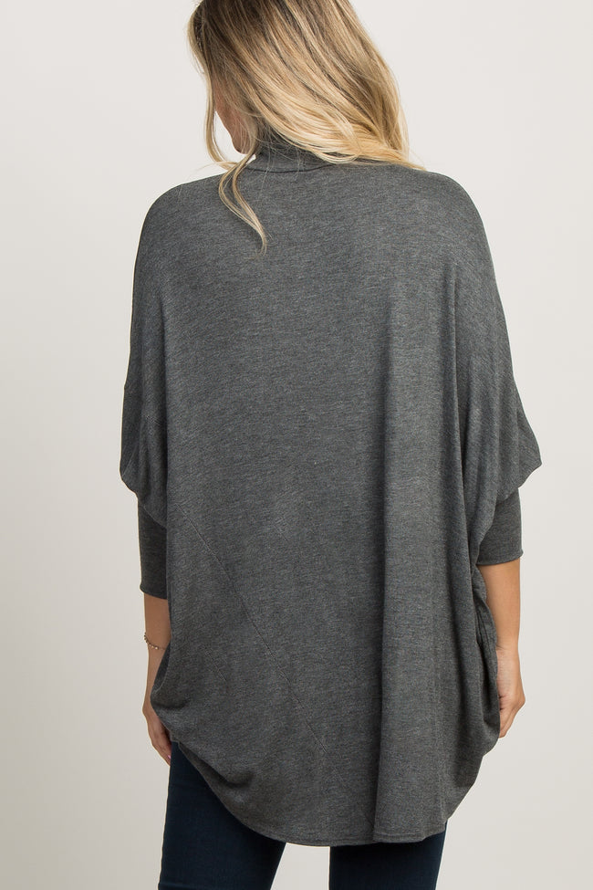 Charcoal Grey Turtleneck Dolman Maternity Top