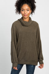 Olive Soft Knit Cowl Neck Dolman Top