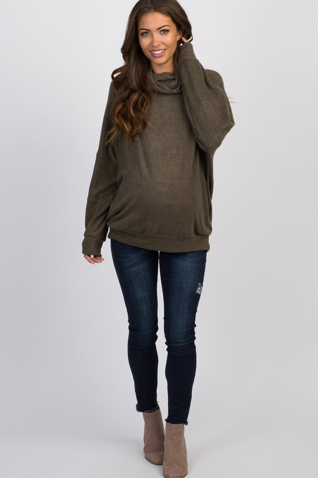 Olive Soft Knit Cowl Neck Maternity Top