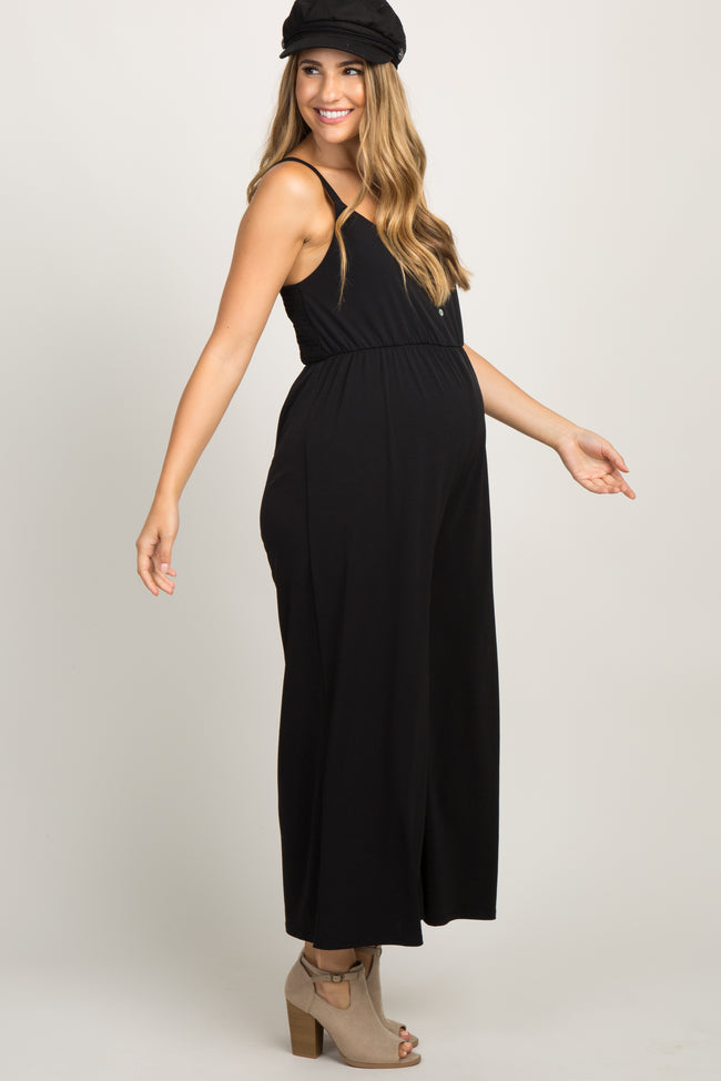 Black Button Front Wide Leg Maternity Jumpsuit