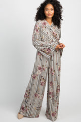 Cream Striped Floral Wrap Jumpsuit
