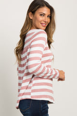 Mauve Striped Button Long Sleeve Knit Top