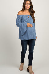 Blue Pinstriped Off Shoulder Bell Sleeve Maternity Top