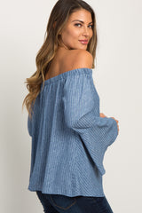 Blue Pinstriped Off Shoulder Bell Sleeve Top