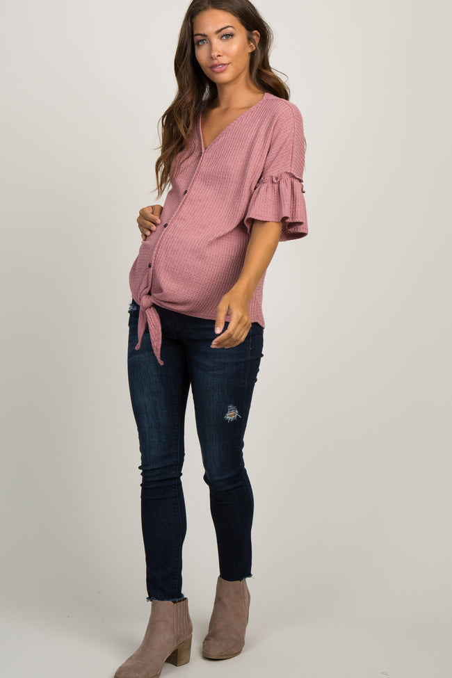 Mauve Waffle Knit Ruffle Tie Front Maternity Top
