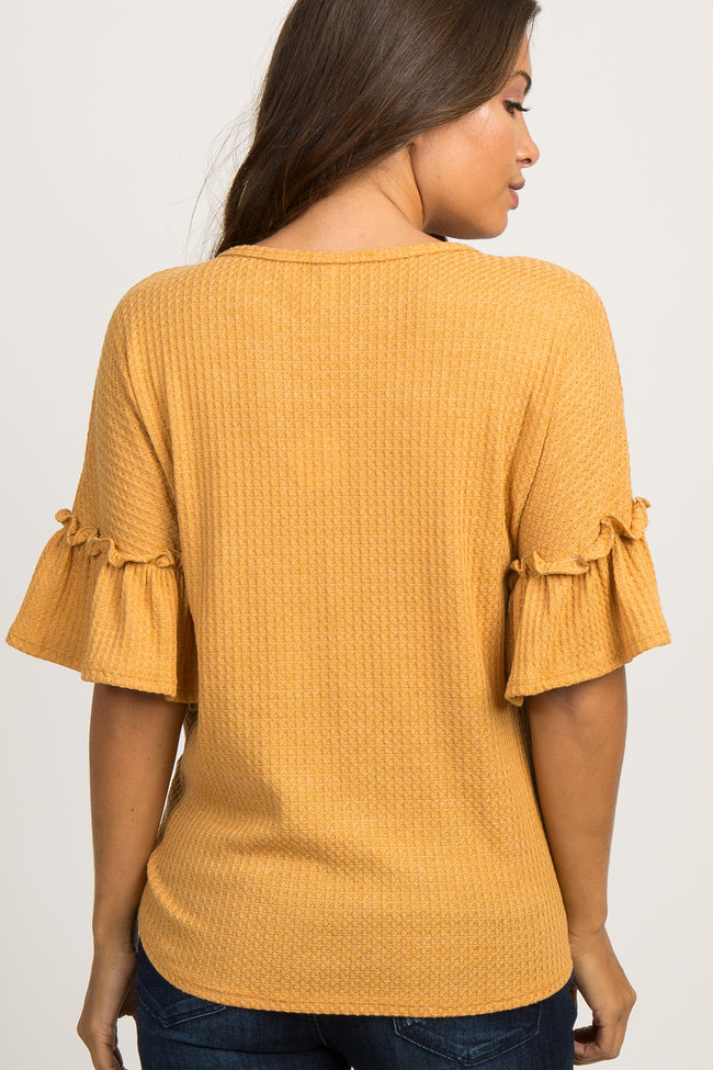 Mustard Waffle Knit Ruffle Tie Front Maternity Top