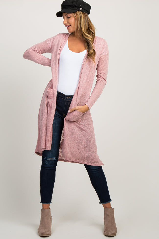 Mauve Button Down Hi-Low Long Sleeve Maternity Cardigan