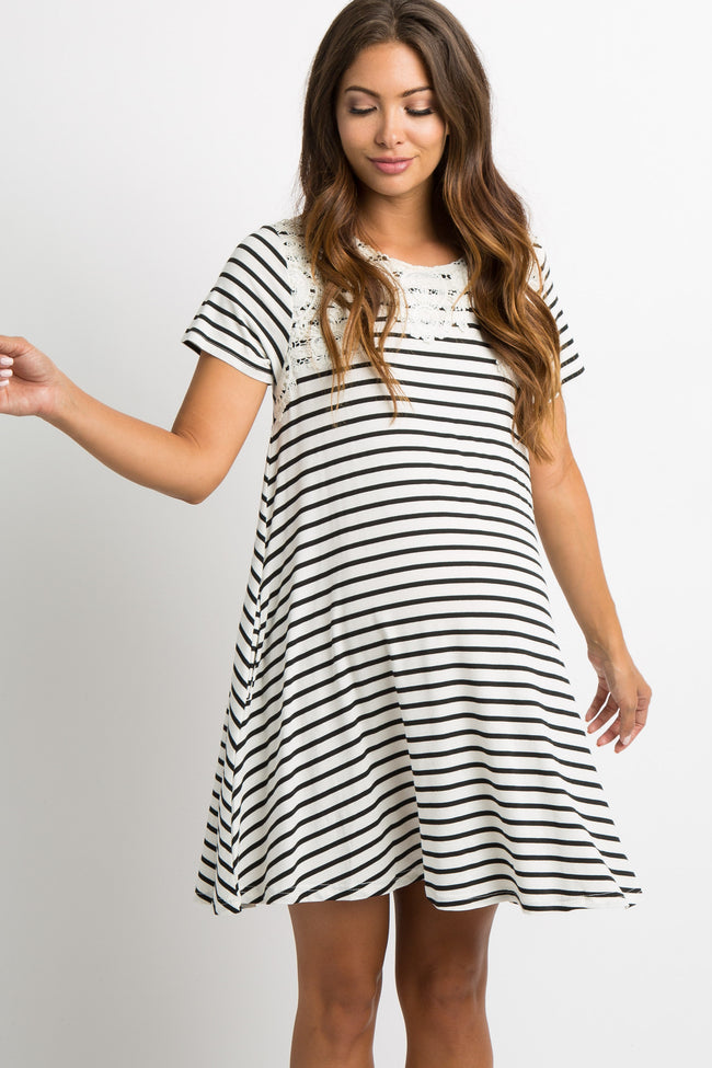 White Striped Crochet Accent Maternity Swing Dress