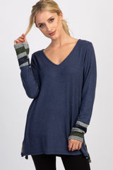 Navy Color Block Long Sleeve Top