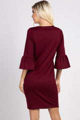 Burgundy Solid Ruffle Sleeve Shift Dress