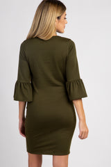 Olive Solid Ruffle Sleeve Maternity Shift Dress