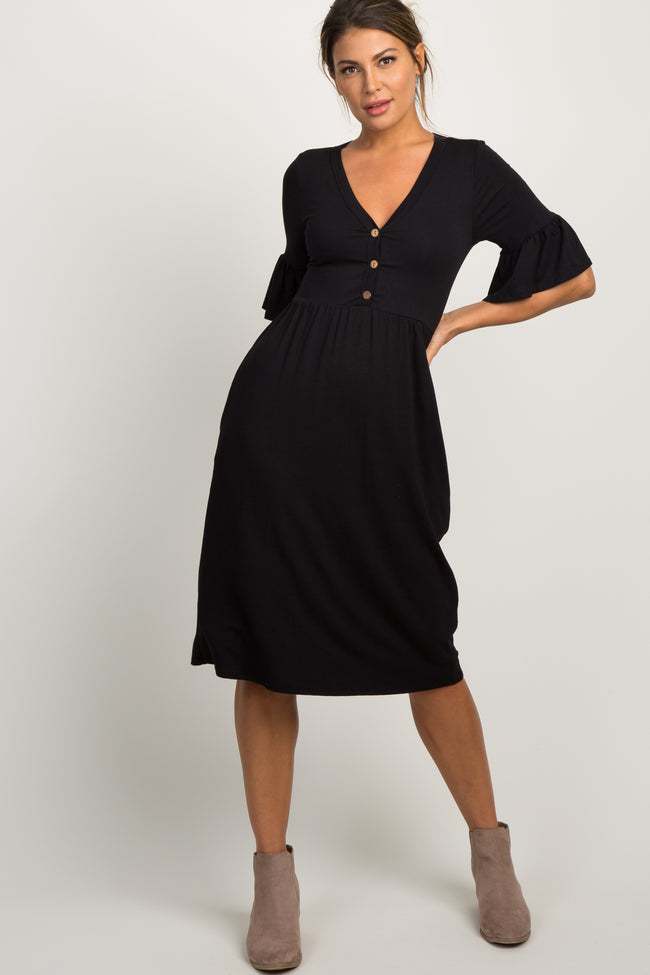 Black Button Down Ruffle Sleeve Maternity Dress