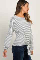 White Striped Knot Front Long Sleeve Top