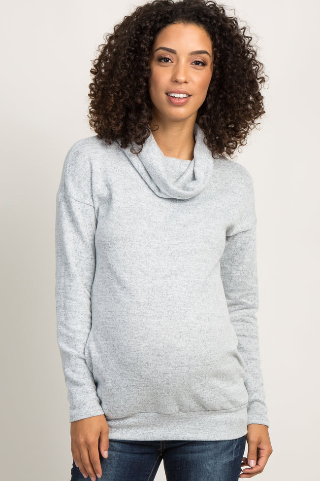 Heather Grey Soft Knit Cowl Neck Maternity Top