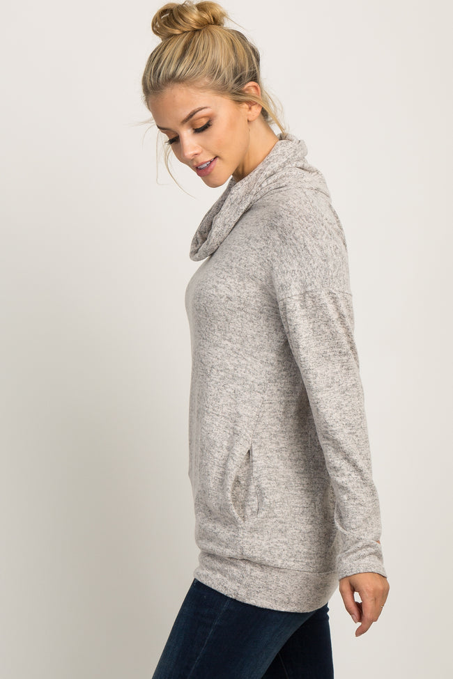 Taupe Soft Knit Cowl Neck Top