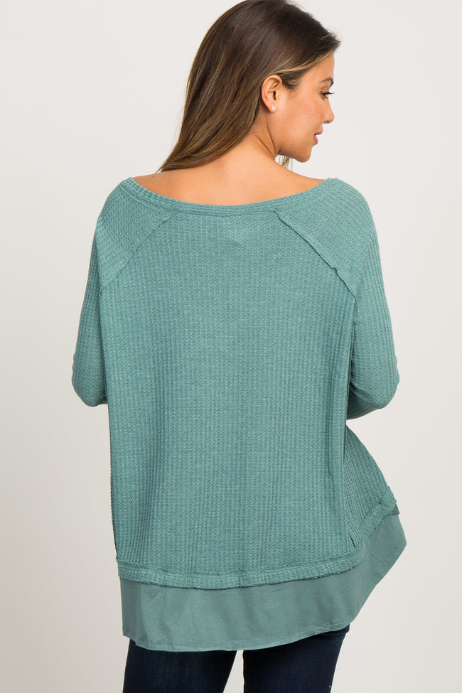 Green Waffle Knit Layered Top