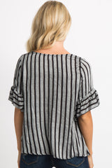 Black Striped Ruffle Sleeve Tie Front Top