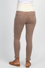 Mocha Distressed Raw Hem Skinny Maternity Twill Pants
