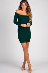 Green Ribbed Lettuce Edge Off Shoulder Dress