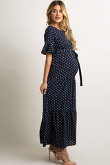Navy Polka Dot Flounce Tiered Maternity Maxi Dress