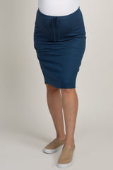 Navy Blue Heathered Tie Front Skirt