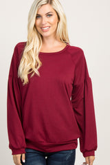 Burgundy Solid Puff Sleeve Sweater