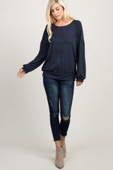 Navy Blue Solid Puff Sleeve Sweater