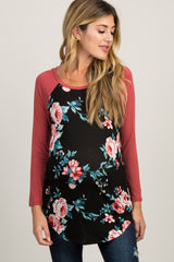 Black Colorblock Floral Long Sleeve Maternity Top