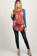 Rust Colorblock Floral Long Sleeve Maternity Top