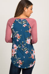 Blue Colorblock Floral Long Sleeve Maternity Top