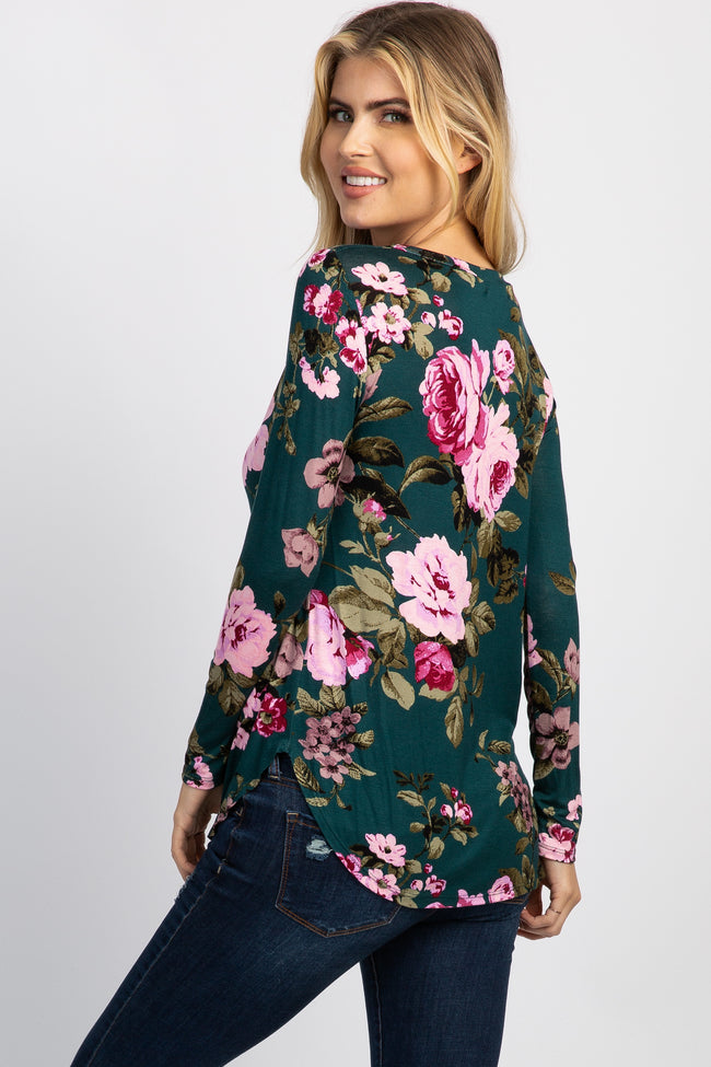 Teal Floral Long Sleeve Maternity Top