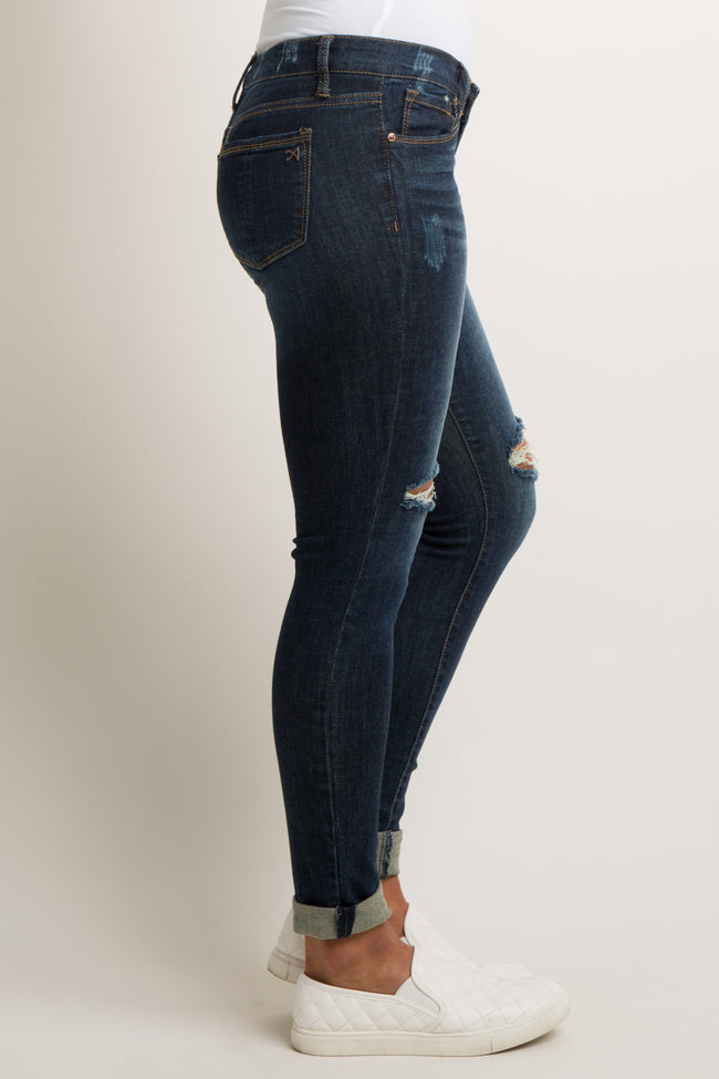 Blue Faded Ripped Knee Cuffed Jeans