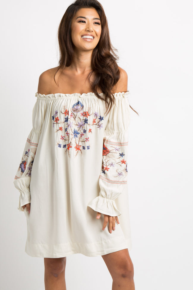 Ivory Embroidered Off Shoulder Dress