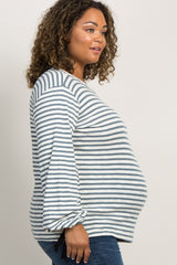 Blue Striped Long Tie Sleeve Plus Top