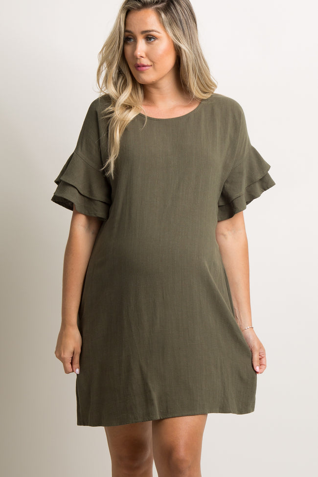 Olive Green Linen Flounce Sleeve Shift Dress