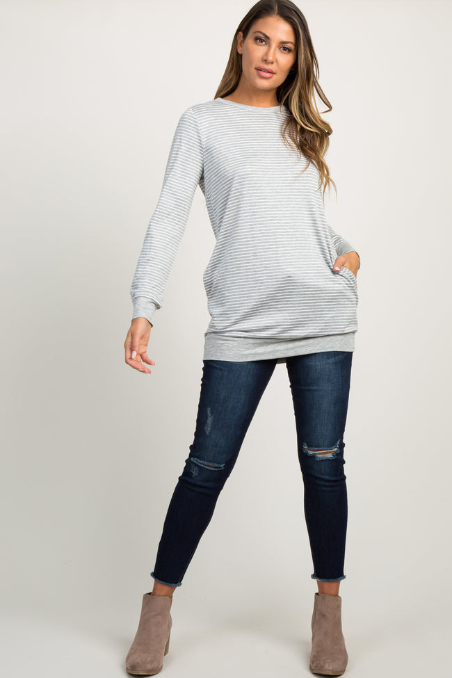 Grey Striped Button Back Top