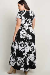 White Abstract Floral Plus Wrap Maxi Dress