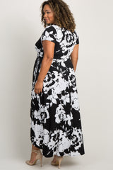 White Abstract Floral Plus Maternity Wrap Maxi Dress