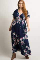 Navy Floral Layered Sleeve Plus Maxi Wrap Dress