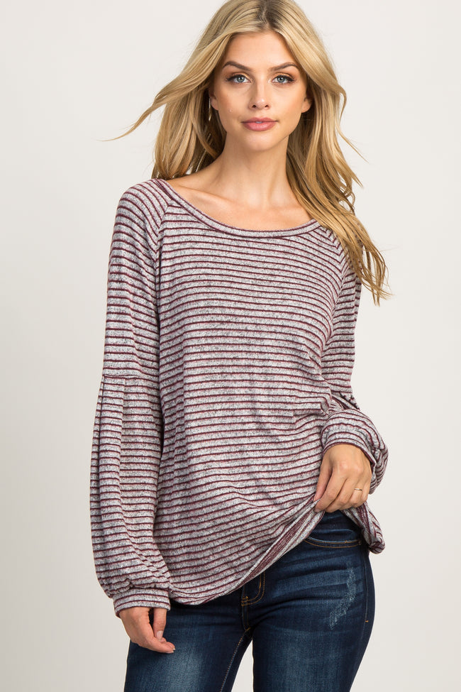 Burgundy Knit Pinstriped Long Sleeve Top