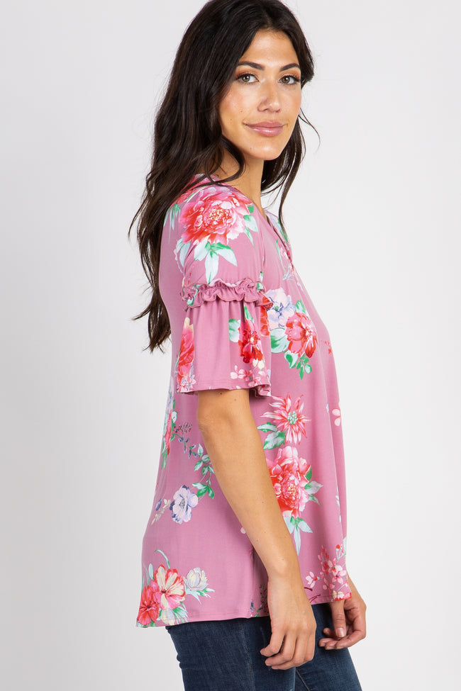 Mauve Ruffle Sleeve Criss Cross Floral Top