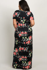 Black Rose Print Short Sleeve Maternity Plus Maxi Dress