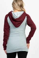Burgundy Striped Colorblock Maternity Hoodie