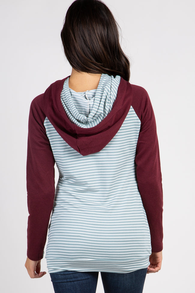 Burgundy Striped Colorblock Hoodie