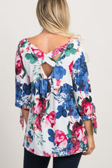 Ivory Floral 3/4 Sleeve Crisscross Back Maternity Top